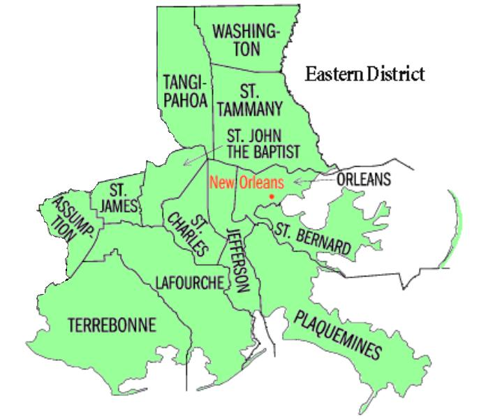 Map of USDC Eastern District of Louisiana - New Orleans Division